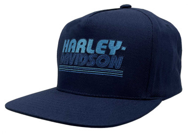 Harley-Davidson Men's Cool Throwback Snapback Flat Brim Baseball Cap - Navy Blue - Wisconsin Harley-Davidson