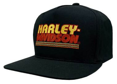 Harley-Davidson Men's Warm Throwback Snapback Flat Brim Baseball Cap - Black - Wisconsin Harley-Davidson