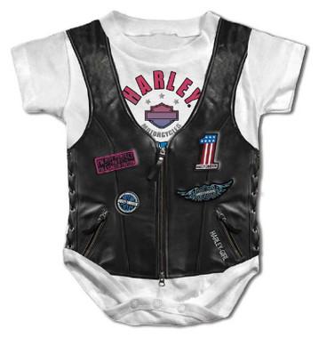 Harley-Davidson Baby Girls' Faux Leather Vest Short Sleeve Creeper - White - Wisconsin Harley-Davidson