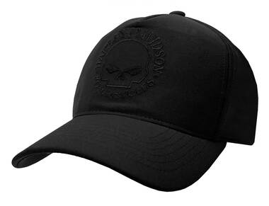 Harley-Davidson Men's Tonal Willie G Skull Logo Snapback Baseball Cap - Black - Wisconsin Harley-Davidson