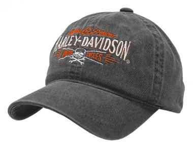 Harley-Davidson Men's Villain Adjustable Slide Baseball Cap - Washed Black - Wisconsin Harley-Davidson