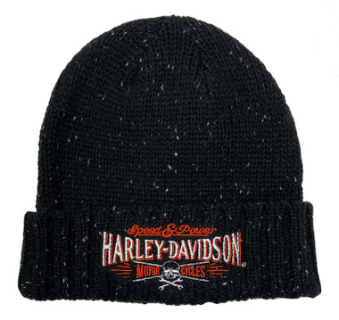 Harley-Davidson Men's Villain Embroidered Heavy Ribbed Cuff Beanie Hat - Black - Wisconsin Harley-Davidson