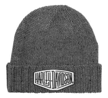 Harley-Davidson Mens Concrete Lightning Patch Heavy Ribbed Cuff Beanie Hat, Gray - Wisconsin Harley-Davidson