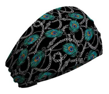 That's A Wrap Women's Peacock Feathers Chainlink Bandana Knotty Band - Black - Wisconsin Harley-Davidson