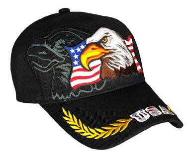 That's A Wrap Men's 3D Eagle Vintage Brim Adjustable Baseball Cap - Black - Wisconsin Harley-Davidson