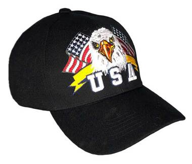 That's A Wrap Men's Twin Flags Eagle Banner Adjustable Baseball Cap - Black - Wisconsin Harley-Davidson