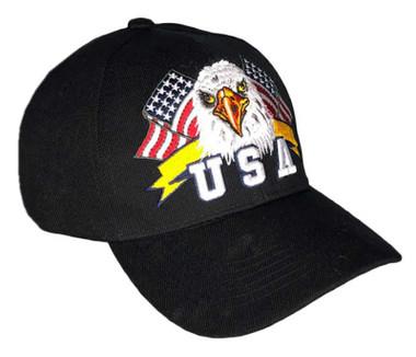 That's A Wrap Men's Twin Flags Eagle Banner Adjustable Baseball Cap - Black - Wisconsin Harley-Davidson