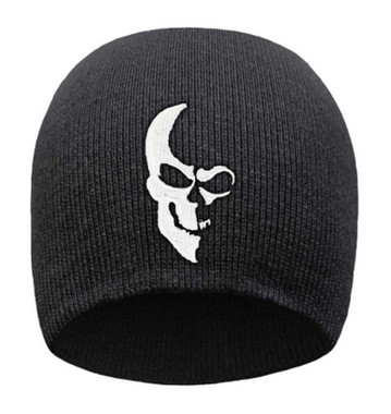 That's A Wrap Men's Embroidered Ghosted Half Skull Knit Beanie Cap - Black/White - Wisconsin Harley-Davidson