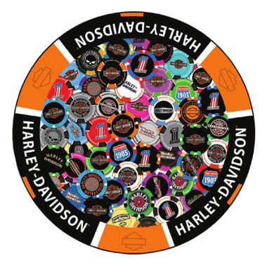 Harley-Davidson® Poker Chip Graphic Round Puzzle - 1000 Pieces, 26.5 Inches - Wisconsin Harley-Davidson