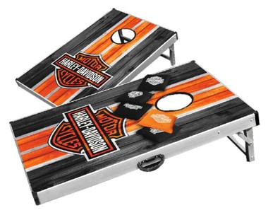 Harley-Davidson Classic Bar & Shield Bean Bag Toss Yard Game Cornhole Board Game - Wisconsin Harley-Davidson