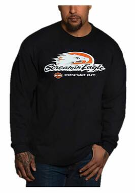 Harley-Davidson Men's Screamin' eagle Long Sleeve Crew-Neck Shirt - Black - Wisconsin Harley-Davidson