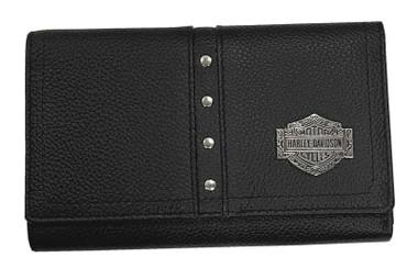 Harley-Davidson Women's B&S Filigree 6 inch Tri-Fold Leather Wallet - Black - Wisconsin Harley-Davidson