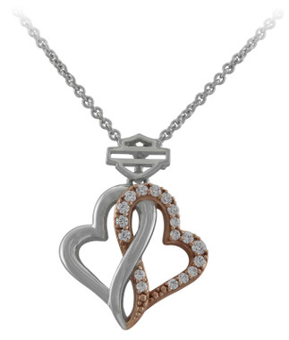 Harley-Davidson Women's White & Rose Gold Bling Infinity Hearts Necklace, Silver - Wisconsin Harley-Davidson
