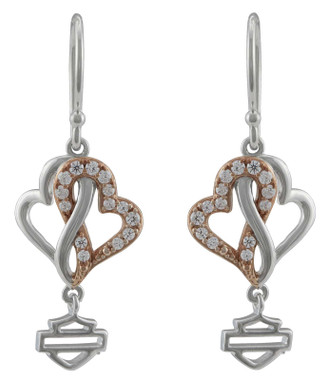 Harley-Davidson Women's White & Rose Gold Bling Infinity Hearts Drop Earrings - Wisconsin Harley-Davidson