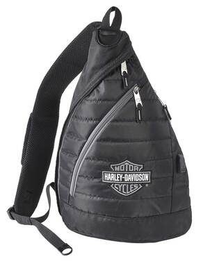 Harley-Davidson Bar & Shield Deluxe USB Quilted Travel Sling Backpack - Black - Wisconsin Harley-Davidson