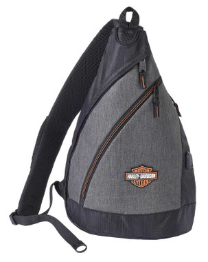Harley-Davidson Bar & Shield Deluxe USB Travel Sling Backpack - Heather Gray - Wisconsin Harley-Davidson
