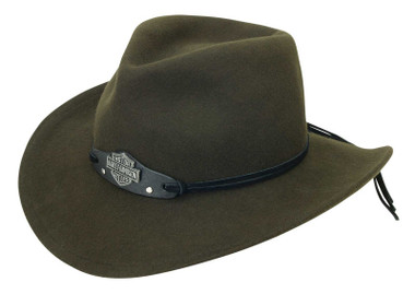 Harley-Davidson Men's Bar & Shield Crushable Wool Felt Cowboy Hat - Black Olive - Wisconsin Harley-Davidson