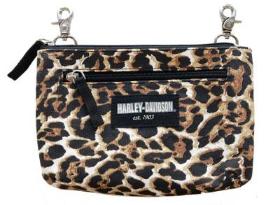 Harley-Davidson Women's Leopard Print Cotton Canvas Hip Bag w/ Strap - Brown - Wisconsin Harley-Davidson