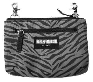Harley-Davidson Women's Zebra Print Cotton Canvas Hip Bag w/ Strap- Gray & Black - Wisconsin Harley-Davidson