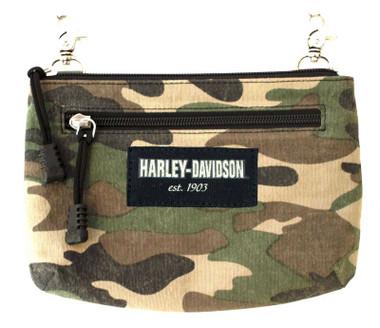Harley-Davidson Women's Camo Print Cotton Canvas Hip Bag w/ Strap - Brown - Wisconsin Harley-Davidson