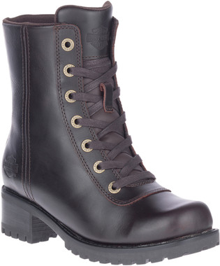 Harley-Davidson Women's Ashby 6-Inch Lace-Up Dark Brown Motorcycle Boots, D84716 - Wisconsin Harley-Davidson