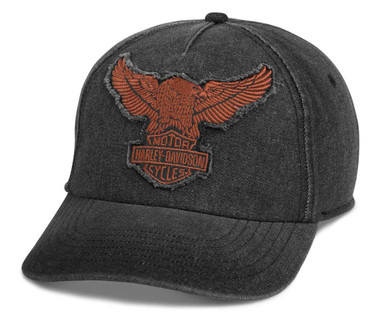 Harley-Davidson Men's Winged Eagle Baseball Cap - Washed Black 97689-21VM - Wisconsin Harley-Davidson