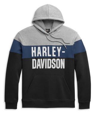 Harley-Davidson Men's Block Letter Colorblocked Pullover Hoodie 96345-21VM - Wisconsin Harley-Davidson