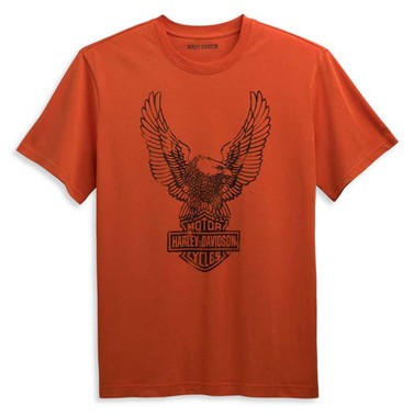 Harley-Davidson Men's Winged Eagle Logo Short Sleeve Tee, Orange 96358-21VM - Wisconsin Harley-Davidson