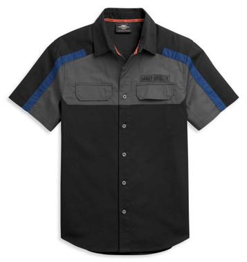 Harley-Davidson Men's Block Letter Logo Colorblocked Woven Shirt 96359-21VM - Wisconsin Harley-Davidson