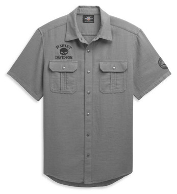 Harley-Davidson Men's Skull Logo Textured Short Sleeve Shirt, Gray 96365-21VM - Wisconsin Harley-Davidson