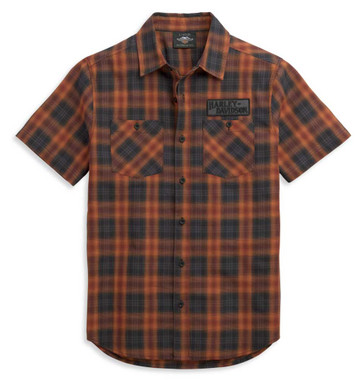 Harley-Davidson Men's Patch Logo Short Sleeve Plaid Woven Shirt 96370-21VM - Wisconsin Harley-Davidson