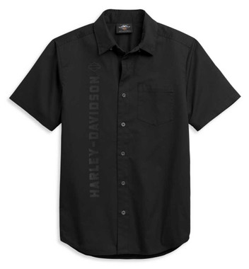 Harley-Davidson Men's Vertical Logo Short Sleeve Woven Shirt, Black 96372-21VM - Wisconsin Harley-Davidson