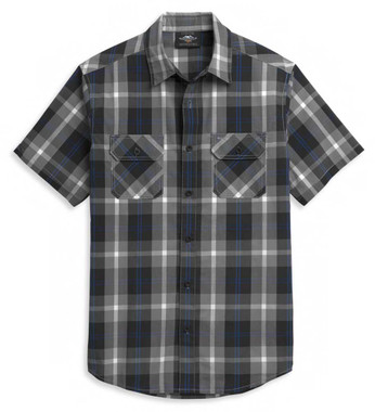Harley-Davidson Men's Block Letter Plaid Short Sleeve Woven Shirt 96374-21VM - Wisconsin Harley-Davidson