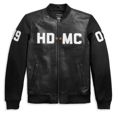 Harley-Davidson Men's HD-MC Mixed Media Bomber Jacket - Black 97015-21VM - Wisconsin Harley-Davidson