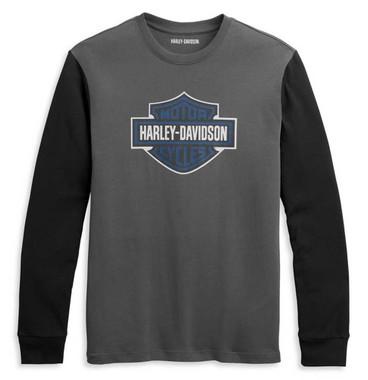 Harley-Davidson Men's B&S Logo Contrast Long Sleeve Knit Shirt 96333-21VM - Wisconsin Harley-Davidson