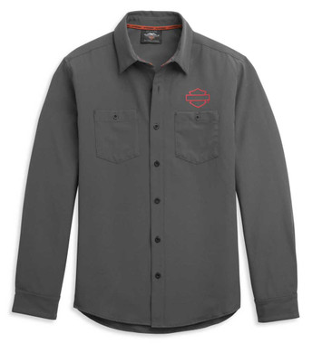 Harley-Davidson Men's HD-MC Logo Long Sleeve Woven Shirt - Gray 96341-21VM - Wisconsin Harley-Davidson