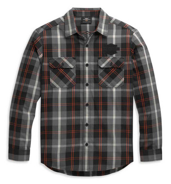 Harley-Davidson Men's Bar & Shield Logo Long Sleeve Plaid Shirt 96344-21VM - Wisconsin Harley-Davidson