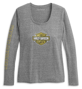 Harley-Davidson Women's Bar & Shield Scoop Neck Knit Top - Gray 96390-21VW - Wisconsin Harley-Davidson