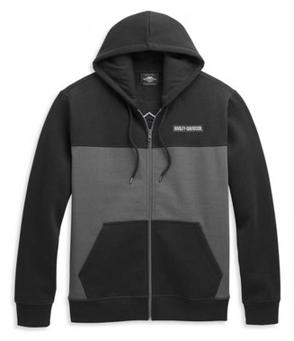 Harley-Davidson Men's Bar & Shield Logo Colorblocked Zip Front Hoodie 96325-21VM - Wisconsin Harley-Davidson