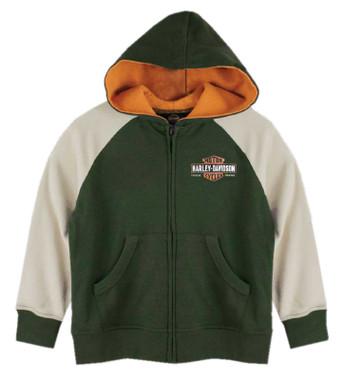 Harley-Davidson Little Boys' B&S Logo Colorblocked Zip-Up Knit Hoodie - Green - Wisconsin Harley-Davidson