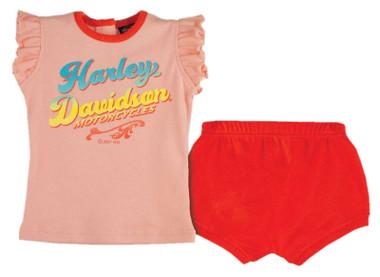 Harley-Davidson Baby Girls' Tulle Sleeveless Tee & Short Newborn Set - Pink - Wisconsin Harley-Davidson