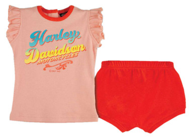 Harley-Davidson Baby Girls' Tulle Sleeveless Tee & Short Infant Set - Light Pink - Wisconsin Harley-Davidson