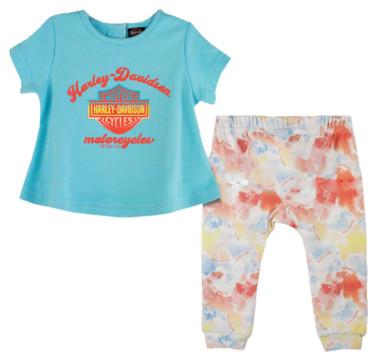 Harley-Davidson Baby Girls' Aline Short Sleeve & Tie-Dye Infant Pant Set - Blue - Wisconsin Harley-Davidson