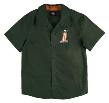Harley-Davidson Little Boys' #1 RWB Short Sleeve Button Shop Shirt - Green - Wisconsin Harley-Davidson