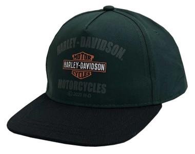Harley-Davidson Little Boys' B&S Logo Snapback Flat Brim Baseball Cap - Green - Wisconsin Harley-Davidson