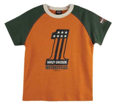 Harley-Davidson Little Boys' #1 Logo Short Sleeve Raglan Knit Tee - Orange/Green - Wisconsin Harley-Davidson