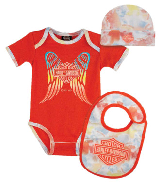 Harley-Davidson Baby Girls' Colorful Tie-Dye 3-Piece Newborn Creeper Set - Pink - Wisconsin Harley-Davidson