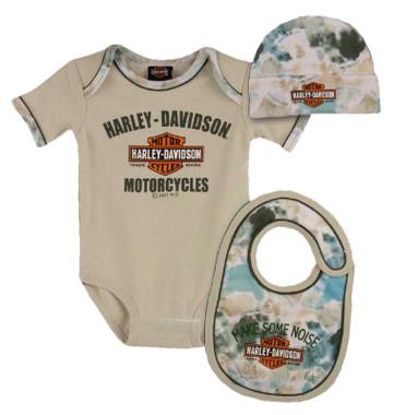 Harley-Davidson Baby Boys' Tie-Dye 3-Piece Infant Creeper, Hat & Bib Set, Khaki - Wisconsin Harley-Davidson