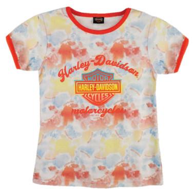 Harley-Davidson Little Girls' Tie-Dye Print Short Sleeve Graphic Tee - Pink - Wisconsin Harley-Davidson