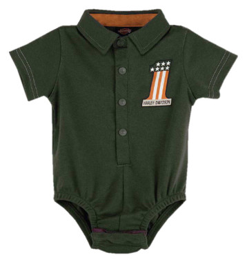 Harley-Davidson Baby Boys' #1 RWB Short Sleeve Newborn Knit Creeper - Green - Wisconsin Harley-Davidson